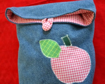 Denim Lunch Bag w/ Applicated Apple