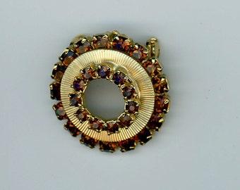Vintage1960's Brown Rhinestone Circle Pin
