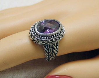 Purple Cubic Zirconia Ring -Silverplated Setting Size 7