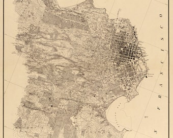 Topographical Map of San Francisco city and it's vicinity 1857