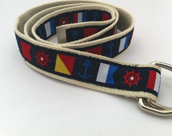 Mens Nautical Flags Belt