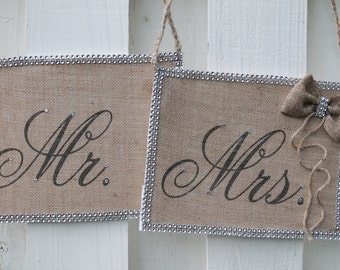 Burlap Mr and Mrs signs