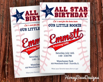 PRINTABLE Baseball Invitation All Star First Birthday Rookie