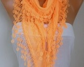 Orange Cotton Scarf, Fall Fashion,Halloween,Necklace, Pumpkin, Cowl Scarf,Gift Ideas For Her, Women's Fashion Accessories, best selling item