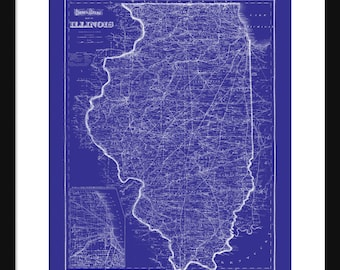 Illinois Map 1871 Vintage Print Poster Blueprint