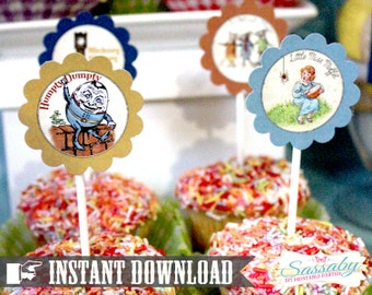 Nursery Rhyme Party Circles/Cupcake Toppers - INSTANT DOWNLOAD - Editable & Printable Birthday Decorations by Sassaby