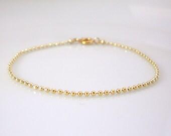 Gold ball chain bracelet, double strand, layering bracelet
