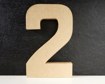 DIY Paper Mache Number Two 2 (8 inches tall) - Ready to Decorate Blank Number | Home Decor | DIY Wedding Table Number