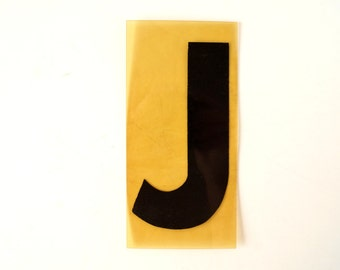 """Vintage Industrial Marquee Sign Letter """"J"""", Black on Yellow Flexible Plastic (7 inches tall) - Industrial Decor, Art Assemblage Supply"""