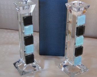 Bohemia crystal candle holders