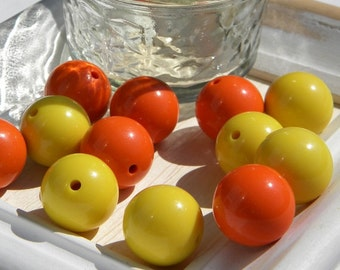 Beads! Acrylic Beads in vibrant orange and yellow  large and light weight - jewelry making - supplies12 pcs.