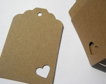 250 wedding favor tags or gift tags - kraft brown paper tags with heart accent - rustic tags - shabby tags