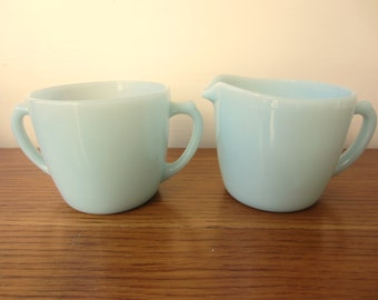 Fire King baby blue cream and sugar set.  D handles Fire King cream and sugar set.