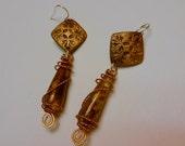 Handcrafted Bronze (PMC) and natural Jasper Earrings