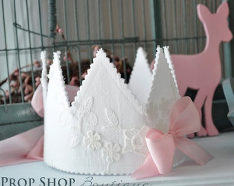 Girl's Shabby Birthday Crown, Special Occasion, dress up, photo prop