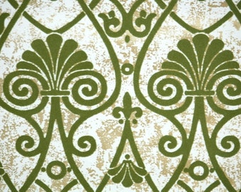 Retro Flock Wallpaper by the Yard 70s Vintage Flock Wallpaper - 1970s Green Flocked Damask on Metallic Gold Marble