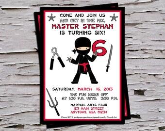 Ninja Birthday Party Invitation - Red-Black-White - Boys Ninja Birthday