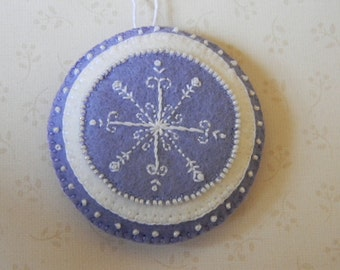 lilac and white round hand embroidered and beaded snowflake ornament