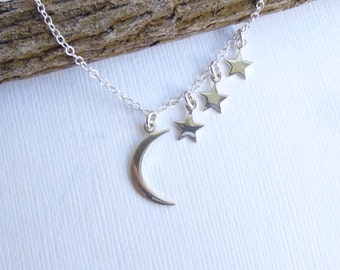 Sterling Silver Moon and Three Stars Necklace --  Mothers Necklace  -- Mother of Three