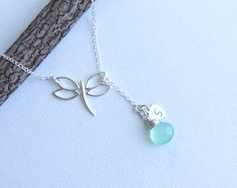 Sterling Silver Dragonfly Birthstone Initial Lariat Necklace  -- Choose Your Personalized Stone and Initial