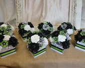 Paper Flower Centerpiece - Paper Rose Peony Poppy Centerpiece -Set of 8  MADE TO ORDER