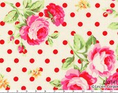Flower Sugar Spring 2013 by Lecien - Roses with Red Dots on White 30747 30