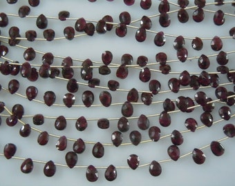 Red Garnet Gemstone Faceted Briolette Pear Drops Size 6MM Approx 8 Inches AAA High Quality Wholesale Price