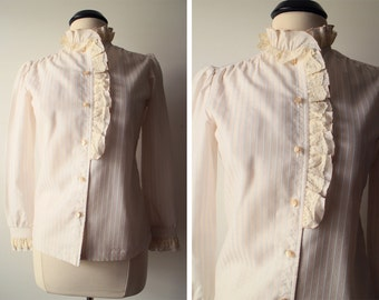 Vintage 70s Victorian Style Lace and Ruffled Secretary Top Size 6