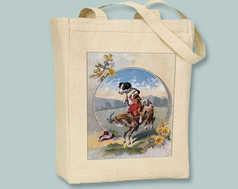 Fun Vintage Dog Riding a Goat Children's Book Natural or Black canvas tote - Selection of sizes available