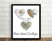 Home is Wherever I'm With You Heart Map Art Print Map Art Poster Print Any Location Worldwide Wedding Gift Engagement Gift Anniversary Gift