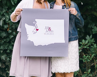 """Wedding Guest Book Alternative Wedding Guest Book Sign Poster Personalized Map Art 24""""x 36""""- Any Location Available Guestbook Alternative"""