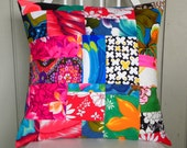 Pillow Cover - Vintage Hawaiian Crazy Quilt - Red, Blue, Pink, Black and White - 18 x 18