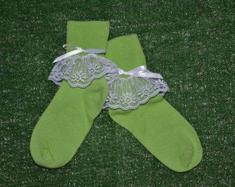 Apple Green -  Lace Socks with Bow for Little Girls - Size 7-8 1/2 (S) - US Shoe Size 9-1