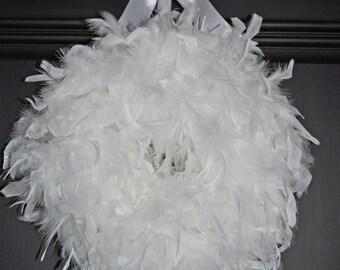 Wedding Wreath-Wedding Decor-White Wreath-Wedding Ideas-White Feather Wreath-White Wedding Decor-Bridal Ideas