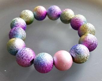 BRACELET : Titanium Stardust Rainbow 14mm Beads Stretch Stackable Bracelet