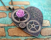 Steampunk heart with rose necklace - Chain with gears- Valentines Day