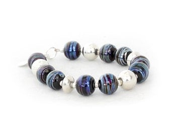 Continuum Bracelet - Handcrafted Lampwork Glass Beads by Clare Scott SRA