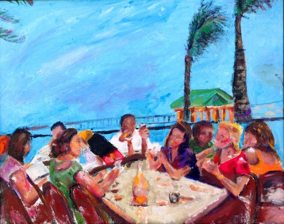 Dining at Ft. Lauderdale Beach 18x24 Original Oil Painting by Marlene Kurland