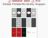 Damask Dot Mini Candy Wrappers, Bridal Shower Favors, Black and White Party Favors, Red, Candy Bar, Chocolate Bar -- Editable, Printable