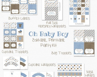 Blue and Brown Baby Shower Printable Party, Baby Boy Shower, Carriage, Party Kit, Party Supplies - Editable, Printable, and Instant Download