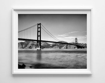 Golden Gate Bridge - San Francisco Art, Black and White Photograph, California Print - Large Wall Art Prints Available