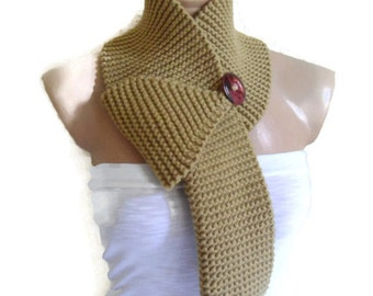 Sandy taupe, scarf, neck warmer,  gift, valentine, valentines day, winter trends, fashion, 2015, knitting, Hand made