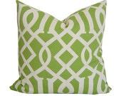 OUTDOOR GREEN Pillow Cover - Imperial Trellis - Outdoor Toss Pillow - Green Cushion - Outdoor Pillows - Accent Pillow - Green Outdoor Pillow