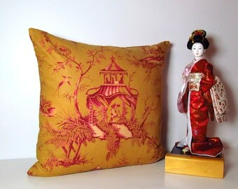 "PAGODA PILLOW 18"" Square Pillow Cover Decorative Pillow/ Handmade in the USA"