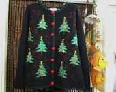 Christmas Spirit Woolen Black Buttoned Down Sweater - Patched, Embroidered & Sequined, Vintage - Large
