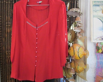 Designer's Elegant Lipstick Red Buttoned-Down Tunic Blouse, Adorned with SWAROVSKI Crystals, Large
