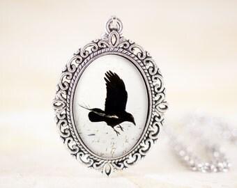 Gothic Crow Necklace - Bird Silhouette Jewelry, Black and White Jewelry, Black Crow Jewelry, Flying Bird Necklace, Silver Bird Jewelry