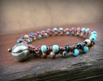 Southwestern turquoise bracelet, Earthy crochet bracelet, Bohemian Boho Chic Jewelry