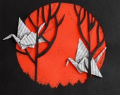 Origami cranes in paper cut forest, 8.3 x 11.7 inches