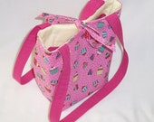 Cupcake Purse, Small Tote Bag, Pink Purse, Birthday Fabric Bag, Polka Dots, Fabric Bag, Teen Purse, Handmade Handbag, Cloth Purse